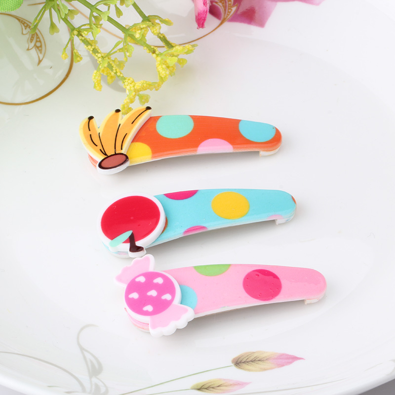 M MISM New Fruit Candy Print Cute Lovely Hairgrip Hairpins Hair Accessories Head Wear Hair Clips for Children Girls Kids m mism girl cute hairball hairpins lovely colorful hairgrips kids accessories new arrival hair clips headwear best gift to kids