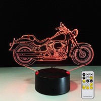 Motorcycles Motor Fan Remote Control 3D Illusion LED Night Light 7 Colors Creative Touch Switch USB