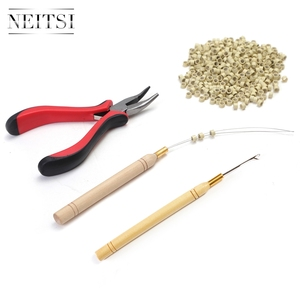 Image 3 - Neitsi 1Pc Tang + 1Pc Haak Naalden + 1Pc Loop Puller 500 Stuks Siliconen Micro Ring kralen Een Set Haar Tools Voor Hair Extensions