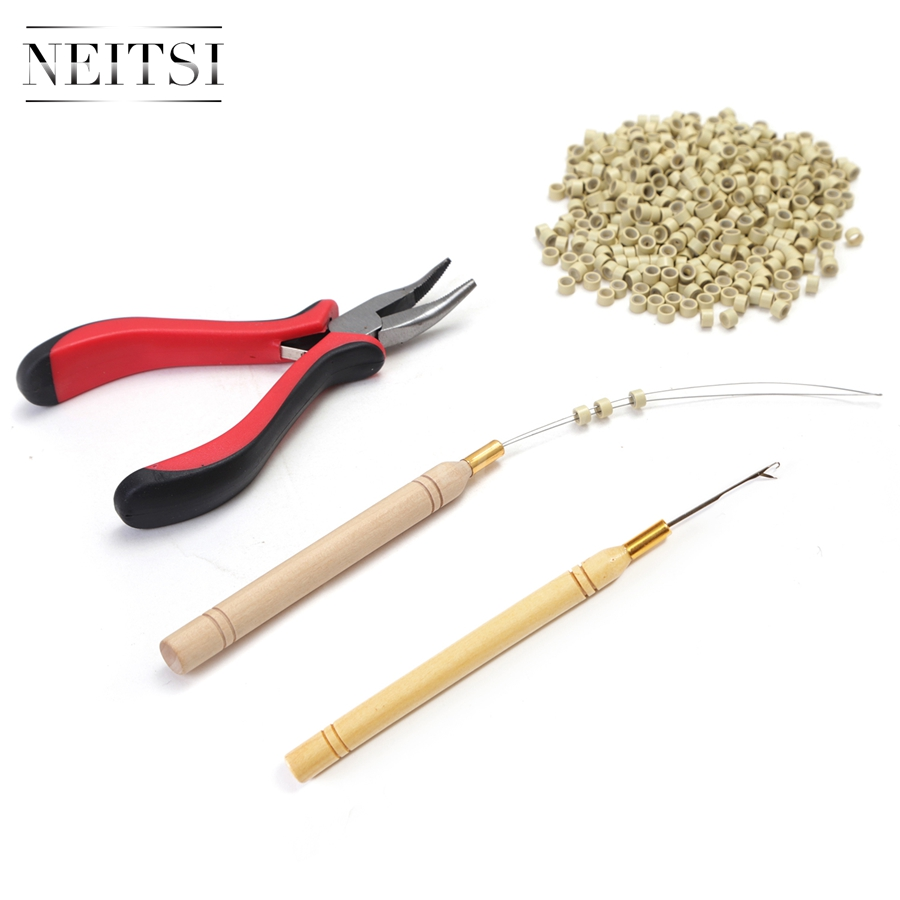 Image 3 - Neitsi 1pc Plier+1pc Hook Needles+1pc Loop Puller+500pcs Silicone Micro Ring Beads One Set Hair Tools For Hair Extensionsmicro ring beadssilicone micro ringssilicon micro beads -