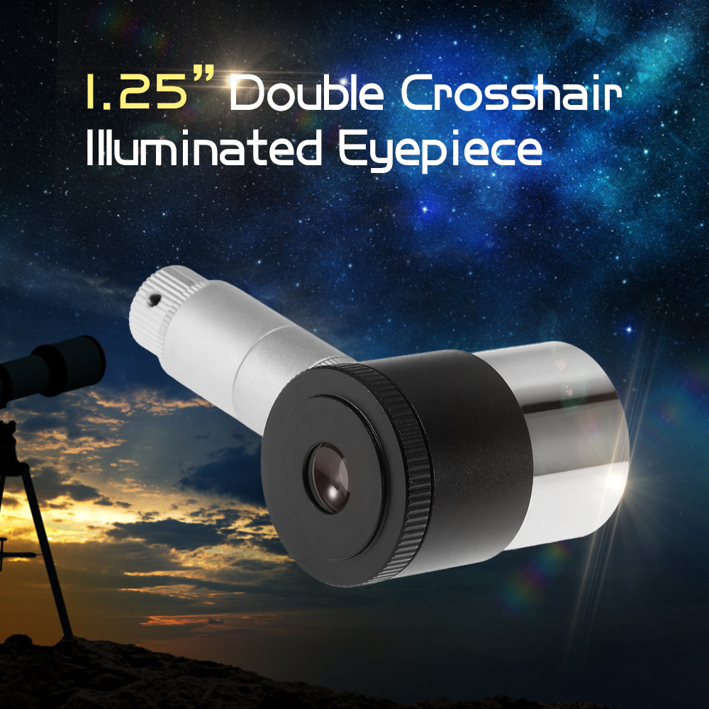 12.5MM Illuminated Eyepiece 1.25INCH Planetary Eye Lens Dual Crosshair 40 Degree Plossl Telescope Eyepiece Accessory Tools(China)