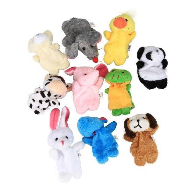 10 piezas de animales de dibujos animados de peluche suave familia dedo marioneta de mano muñecas educativos juguetes interesantes para niños regalo
