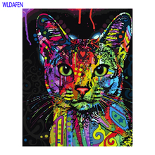 Frameless Picture Painting By Numbers Abstract Animal Cat DIY Oil  On Canvas Home Decoration For Living Room 40*50cm