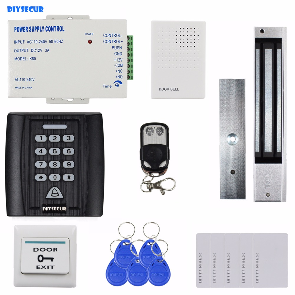 DIYSECUR Remote Control Door Bell 280kg Magnetic Lock 125KHz RFID Password Keypad Access Control System Security Kit Door Lock diysecur 280kg magnetic lock 125khz rfid password keypad access control system security kit exit button k2