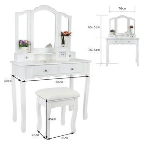 Image 5 - Nouveau 90x40x145cm commodes pour chambre maquillage vanité avec 3 miroirs 4 tiroirs tabouret chambre ensembles Dressing maquillage Table outils HWC