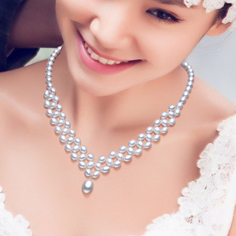 Nymph Pearl Necklace Pendant Real Fresh Water Two Rows Fine Jewelry Trendy Engagement Wedding Gift For Women X10010 In Necklaces From