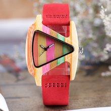 Часы наручные женские с бамбуковым корпусом милые модные повседневные