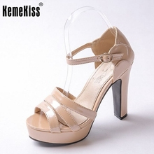 Women Shoes Woman High Heel Sandals Fashion Patent Leather Ankle Wrap Lady Sexy Platform Women Party Footwear Size 31-43 PA00858