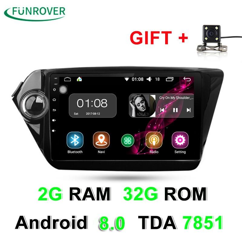 2G + 32G 2 Din Voiture dvd gps Android 8.0 9 pouce Pour Kia Rio K2 2012 2013 2015 2016 Voiture Radio Navigation lecteur multimédia stéréo RDS