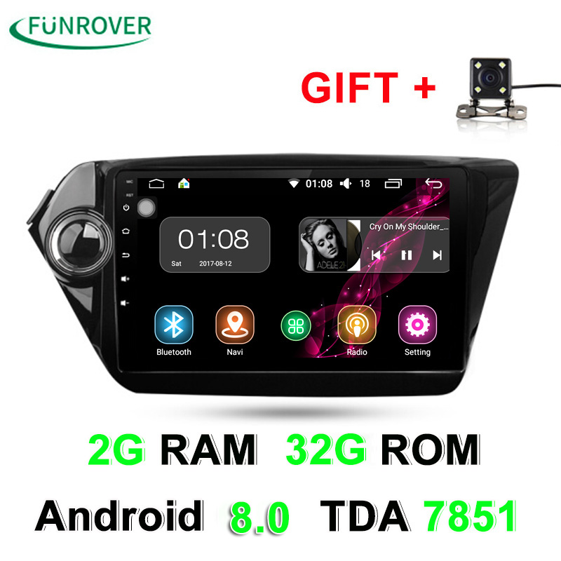 Octa core 2 Din Car dvd gps Android 8.0 9 inch For Kia Rio K2 2012 2013 2015 2016 Car Radio Navigation player multimedia stereo