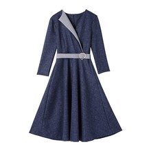 Female Fashion Spring Denim Dress Women Elegant Three Quarter Sleeve Midi Office Lady Ol Work Wear A-Line