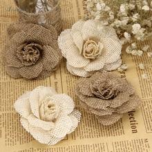 XINAHER 5pcs 9cm Handmade Jute Hessian Burlap Flowers Rose Shabby Chic Wedding Decor Christmas Party Supplies
