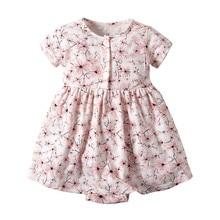 Cute Toddler Baby Girls Summer Dress Kid Girl Short Sleeve Floral Print Princess Romper Dresses Children Clothes vestido