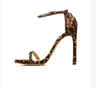 ФОТО Pu ankle strap sexy thin high heels ladies sandals superstar shoes sandal  leopard solid women summer shoes woman 2017