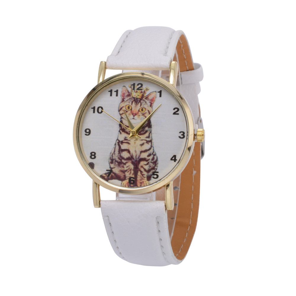 New Women's Watches Casual Watches Leather Cute Cat Pattern Leather Watch Women Ladies Quartz Wristwatches Relogio Feminino 2019