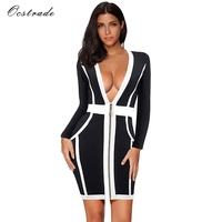 Ocstrade Deep V Neck Rayon High Quality Women Sexy Club Bandage Dress Long Sleeve Black And