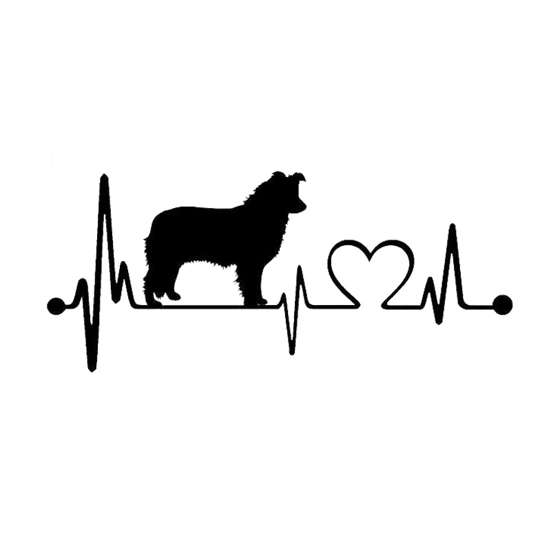 19*8.3CM Border Collie Dog Heartbeat Decal Stickers Car Cover Scratches Decorative Accessories C6-1130