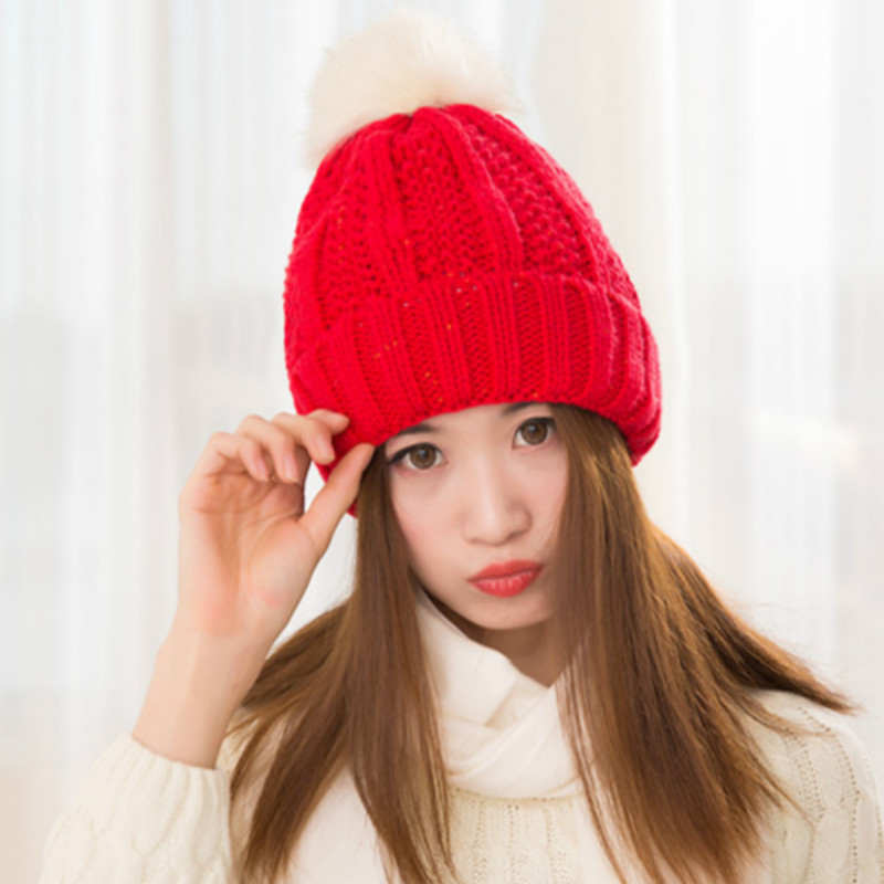 Women Winter Hat Ladies Casual Rabbit Fur Ball Beanie Caps Hairball Knitted Hats Keep Warm Wool Swag gorras