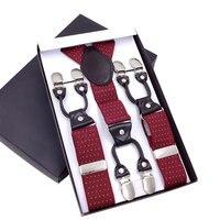 Men S Suspenders Leather Braces Mens Trouser 6 Clips Adult Suspensorio Tirantes Hombre Bretelles Gentle