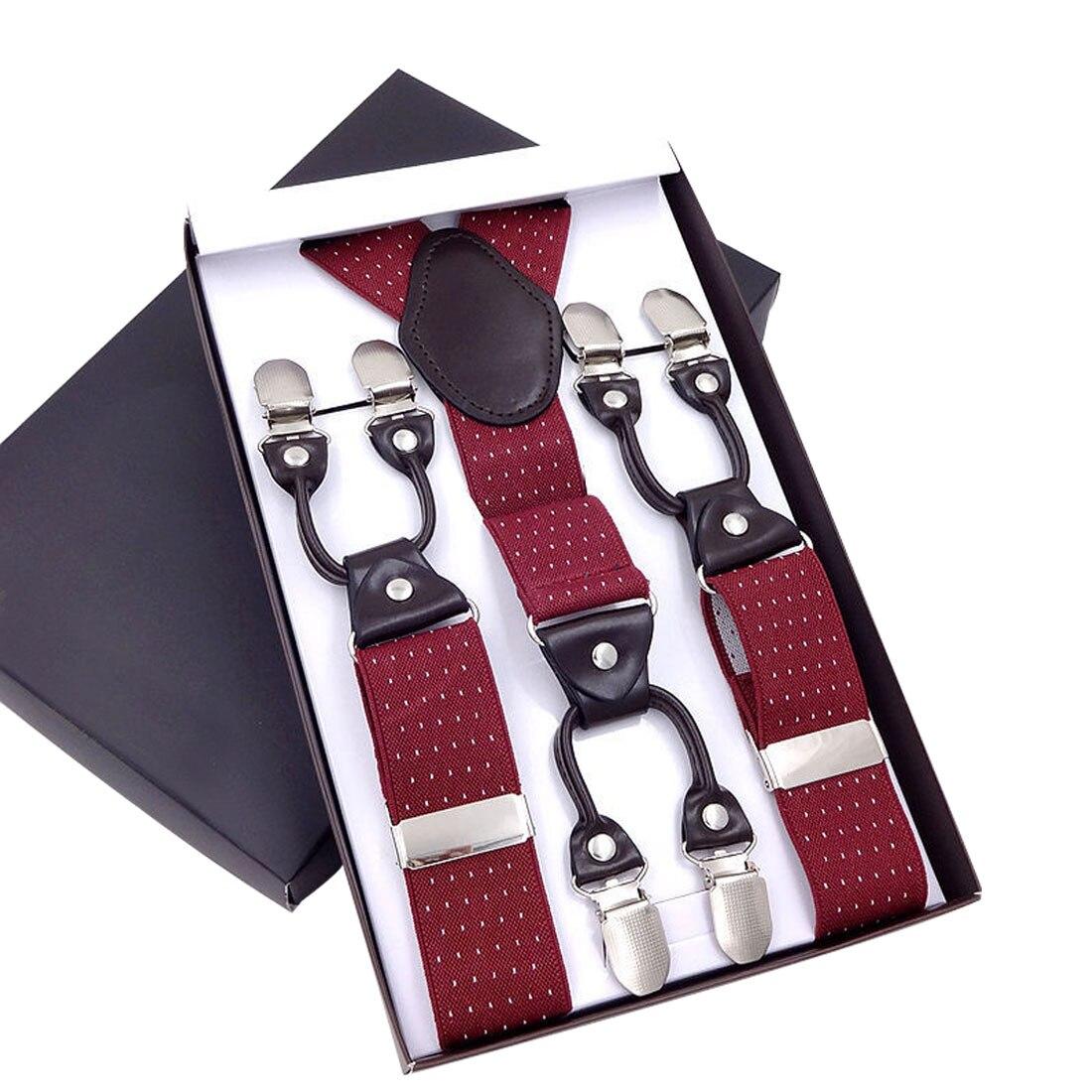 Mens Suspenders Leather Braces Mens Trouser 6 Clips Adult Suspensorio Tirantes Hombre Bretelles Gentle