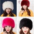 Hombres de la moda del sombrero de piel sintética espesar cálido sombrero del oído tapa protectora de piel de zorro de piel de mapache gorra de esquí de nieve al aire libre sombrero