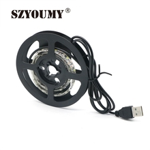 SZYOUMY DC 5V White / Warm White USB Cable LED Strip light String Ribbon 1M SMD 3528 Decorative lamp Tape For TV Background