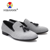 Three color Houndstooth printing men casual shoes Fashion Party and Banquet men loafers Slip on smoking slippers men's flats