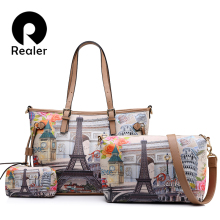 REALER women large shoulder handbag vintage printed tote bag