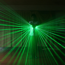 Multi-line Green Laser Gloves LED Luminous Costumes Show Nightclub Fluorescent Props Lighting With 5PCS 532nm
