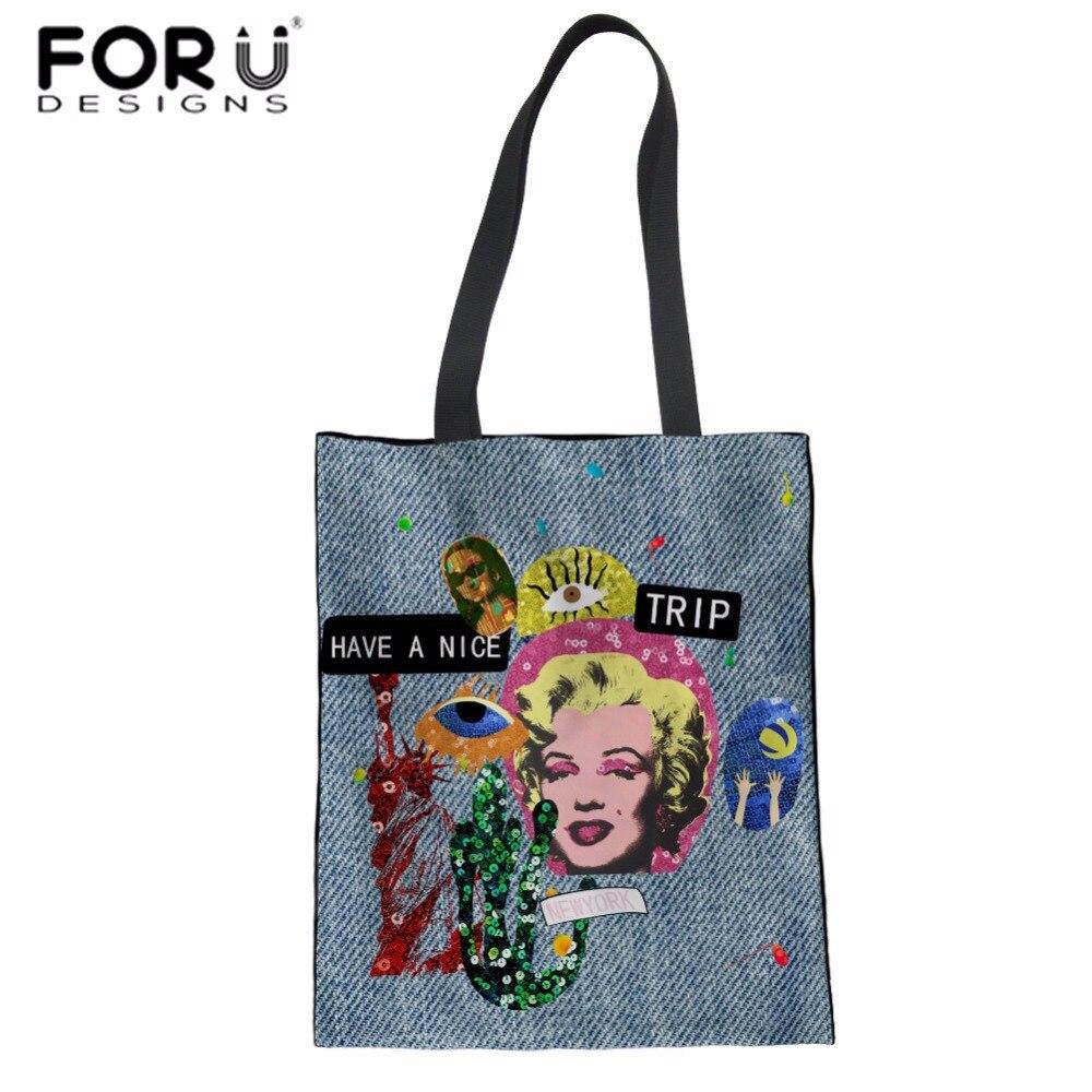 FORUDESIGNS Women Handbag Characters Print Canvas Shoulder Bag for Travel Teenager Girls Collage Book Bolsa Shopping Tote Bag tote bag