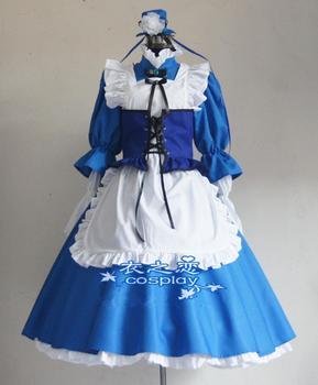Caliente Anime K Proyecto Awashima Seri Cosplay Personalizado Lolita Fiesta Azul Mucama Vestido Unif