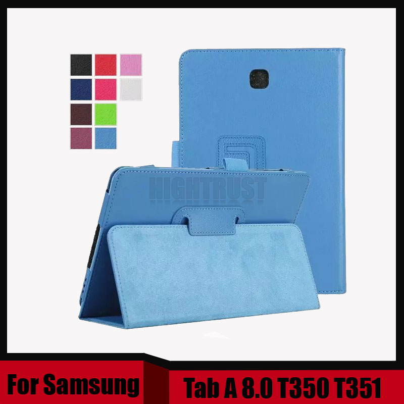 3 in 1 Hot Sale Lichee Style PU Leather Stand Case Cover For Samsung Galaxy Tab A 8.0 T350 T351 8 inch + Stylus + Screen Film