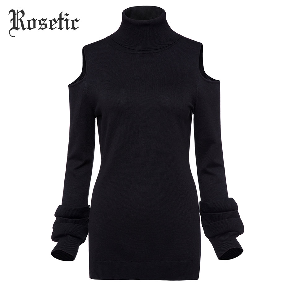 Rosetic Gothic Dress Women Black Autumn Bow Neck Petal Sleeve Hollow Sheath Slim Fashion Knitted Waist