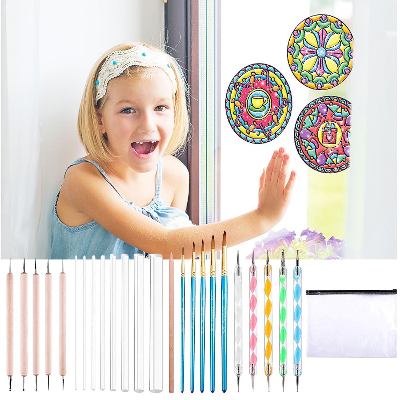 25pcs Mandala Dotting Tools Set Dotting Pens Brush Acrylic Rods White Pencil Carrying Bag For Painting Rocks Drawing Drafting