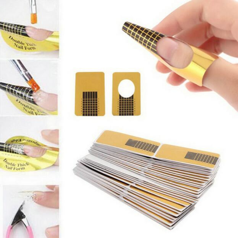 100pcs set Professional Nail Tools Tips Nail Art Guide Form Acrylic Tip Gel Extension Sticker Nail