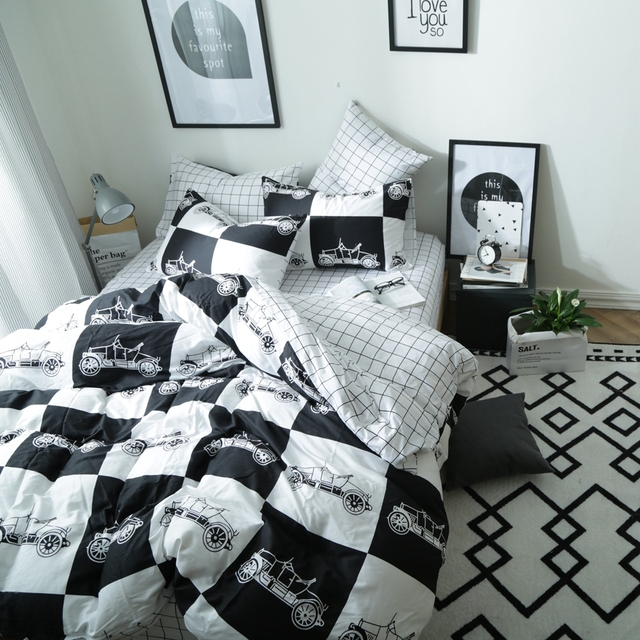 Modern Black And White Duvet Cover Set Cars Printed Bedding 100 Cotton Plaid Bed Sheet