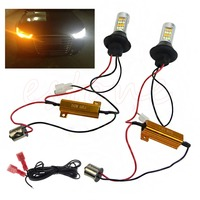 1Pair 42 LED BAU15S 2835 SMD 50W Dual Color Switchback DRL Turn Signal Light Kit