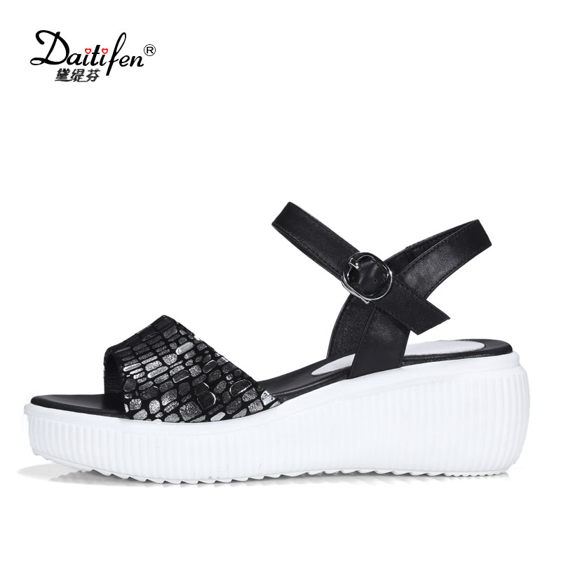 Daitifen Women Casual Wedges Sandals High Heel Platform Shoes Comfortable Genuine Leather Thick Bottom Red Silver Sandals Woman new summer sandal high heel women thick bottom female sandals casual shoes fashion leather sandal comfortable sweet cute woman