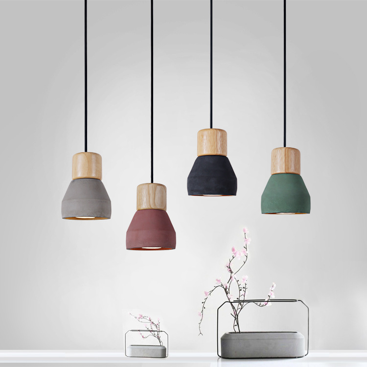 Nordic Ash Wood Cement Pendant Lamp Modern Concret Red Blue Black Gray Cement Pendant Light Drop Home Light Vintage Dining Room Lamp (4)