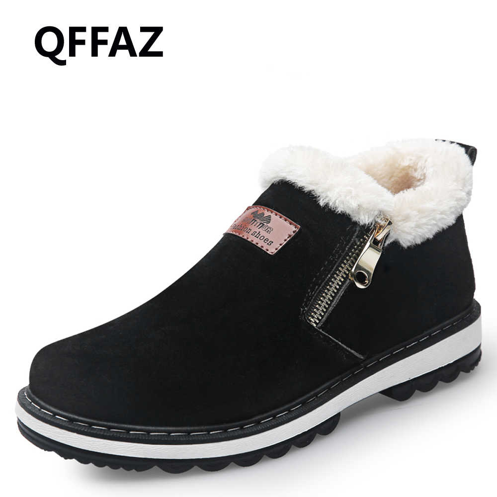 QFFAZ Fashion Black Men s Boots Designer Winter Shoes Men Warm Short Plush  Casual Fur Boots Men 22dbbfc31d3d
