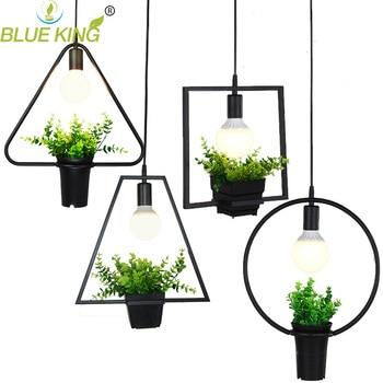 Blueking современного искусства украшения цветок кулон свет черный металлический Европейский геометрических E27 edison светодиодные лампы подвес...