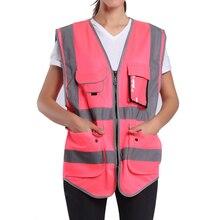 Розовый защитный жилет для женщин, высокая видимость, рабочая одежда, Униформа с карманами