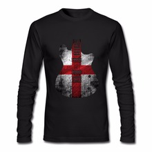 Guitarra Bandeira de Inglaterra dos homens Ocasionais Do Vintage Camiseta  de Manga Longa Roupas de Hip 2e4e1d95293be