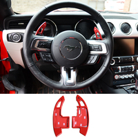QHCP 2Pcs/Set Steering Wheel Shift Paddles Aluminum Alloy Shifter Gear Sticker For Ford Mustang 2015 2016 2017 2018 2019 Styling