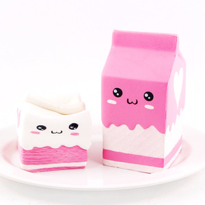 Cute Smile Milk Box Squeeze Fun Soft Slow Rising Stress Reliever Jumbo Squishes Pu Cute Toys Birthday Gifts