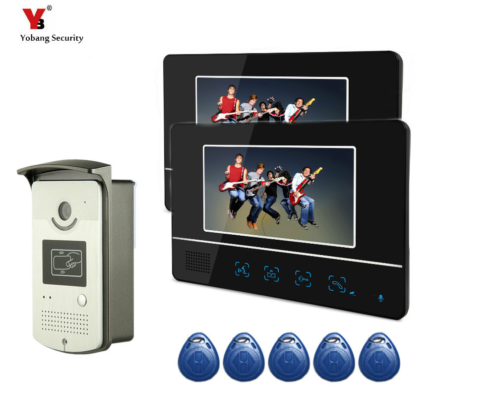 Yobang Security 7 Home Video Intercom Doorbell phone System With Hands Free Monitor Intercom Waterproof Outdoor IR Camera