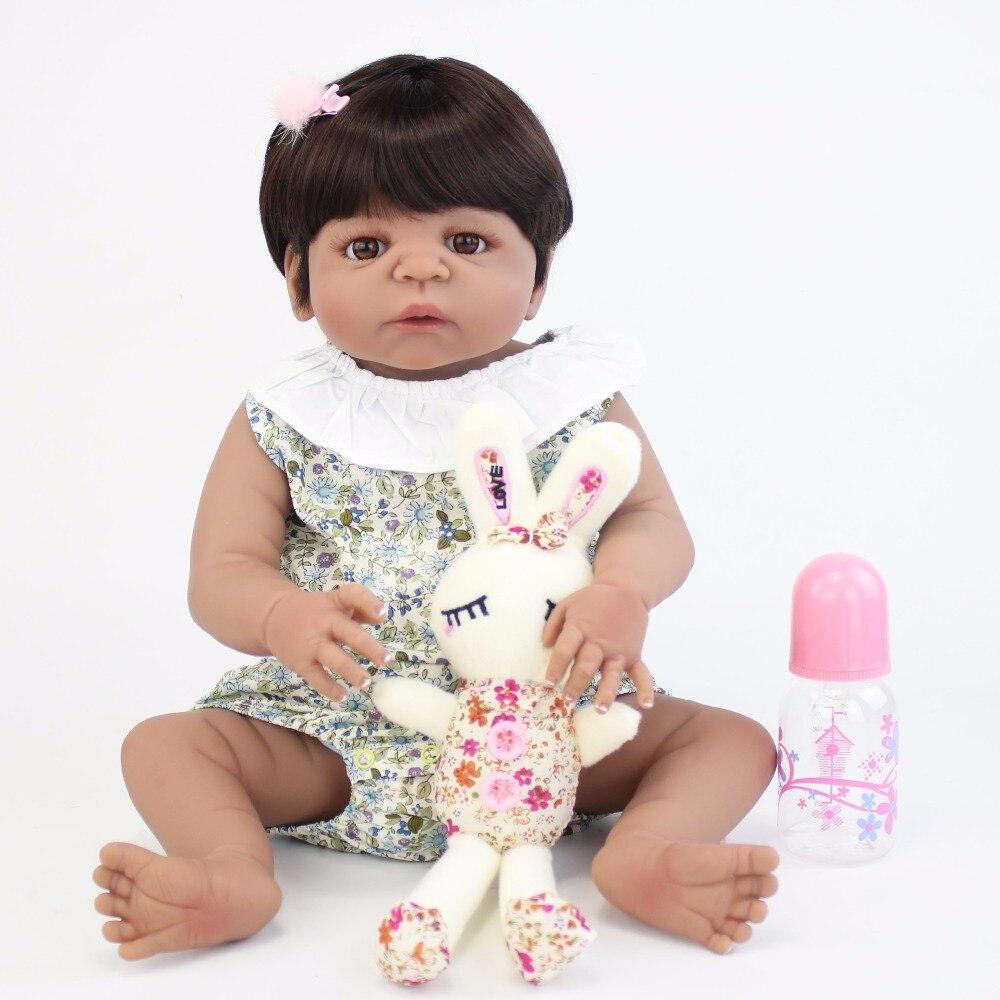 55 см полный силиконовый корпус Reborn Baby Doll игрушка как настоящая черная кожа новорожденные младенцы живые Bebe кукла купать Игрушки для девочек...