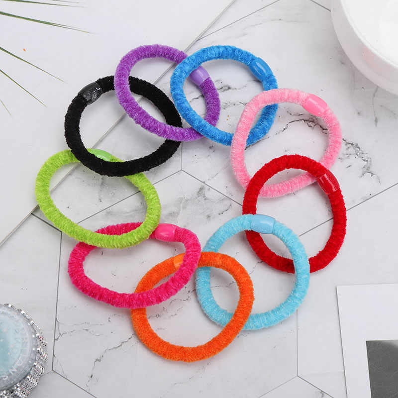Ten Packs Of Color Mixed Color Cute Candy Colour Elastic Hair Band Rubber Bands Kids Hairband  For Girl Headband Hair Rope