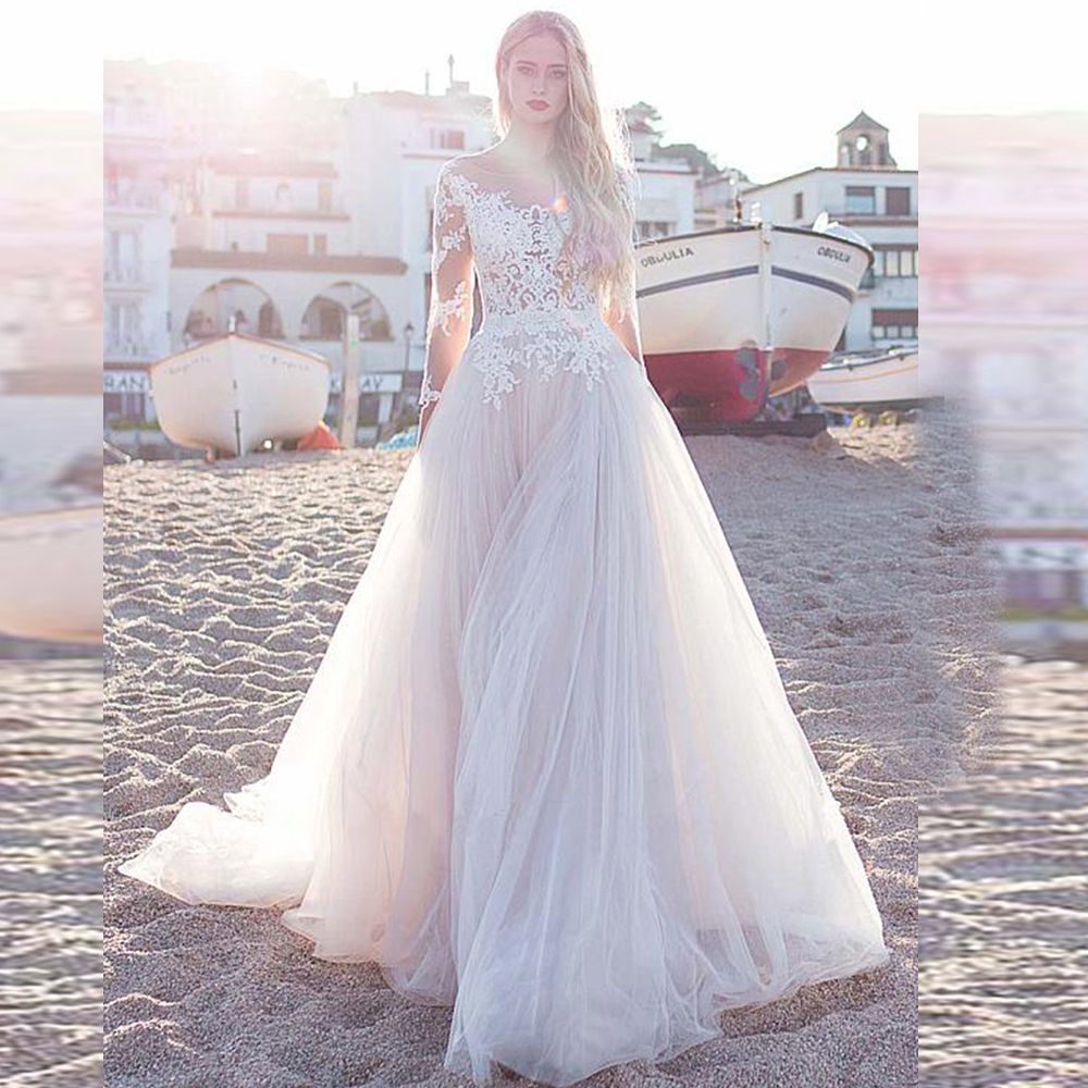 2019 Fascinating Tulle Scoop Neckline A Line Wedding Dresses With Lace Appliques Long Sleeves Beach Wedding Bridal Dress F96-in Wedding Dresses from Weddings & Events
