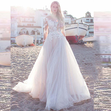 2020 fascinante tul cuello redondo una línea vestidos de novia con apliques de encaje manga larga playa vestido de novia de boda
